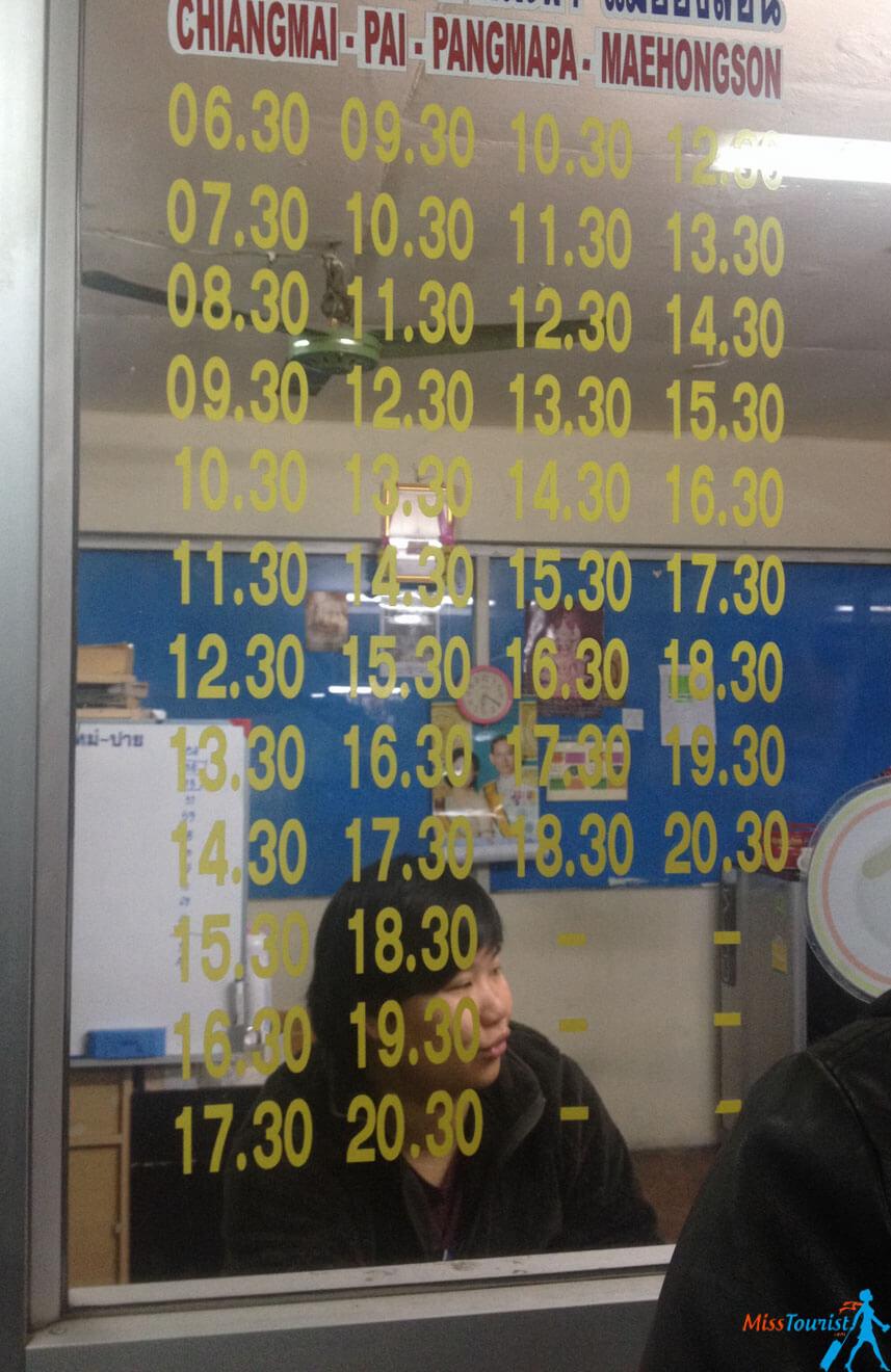 chiang mai to pai schedule bus