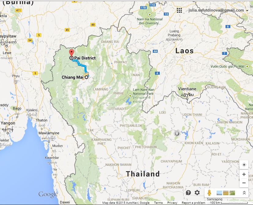 chiang mai to pai map