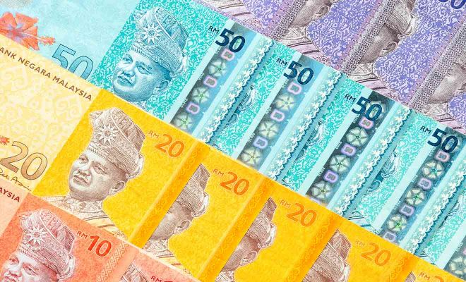 ringgit banknotes background