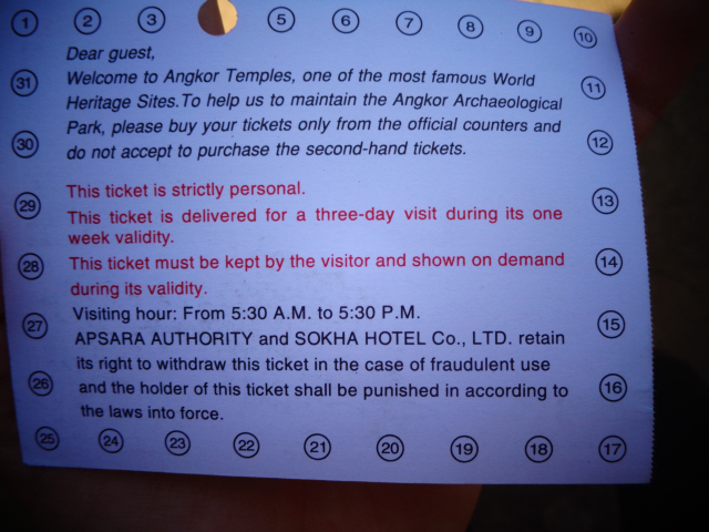 Angkor Wat ticket 3 days