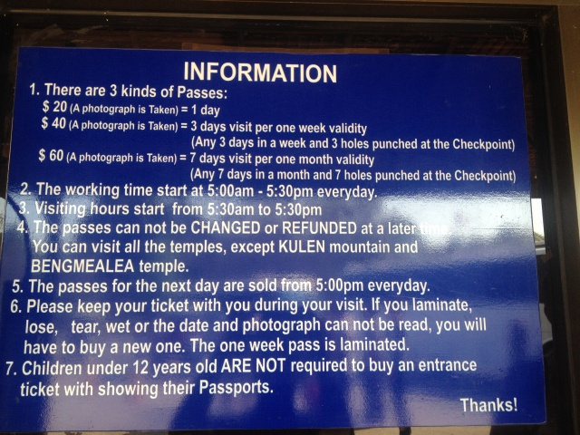 Angkor at ticket price working hours 3 days pictures allowed
