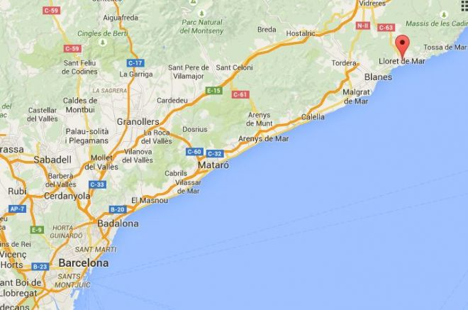 Lloret de mar from Barcelona map
