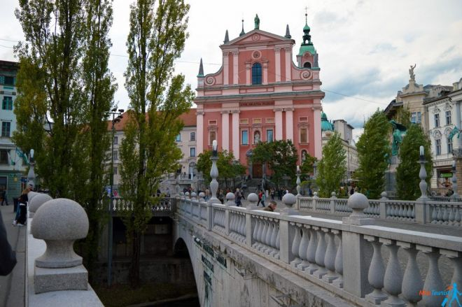 Triple bridge Ljubljana center slovenia