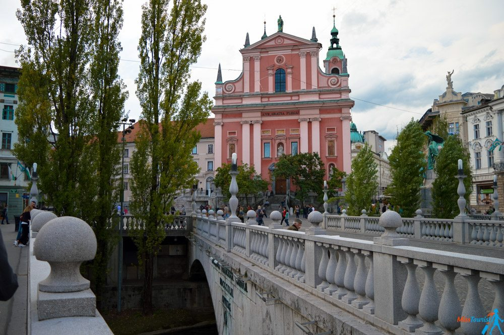 Triple bridge Ljubljana center slovenia