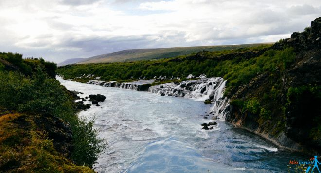 Hraunfossar Barnafoss Waterfall