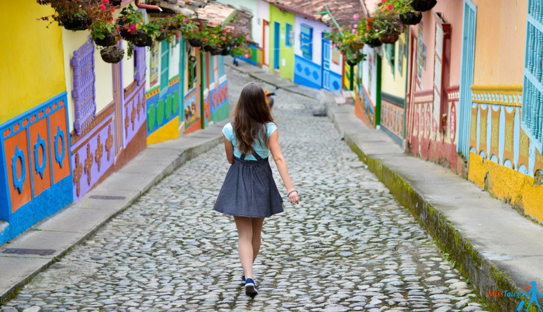 Guatape colorful streets colombia