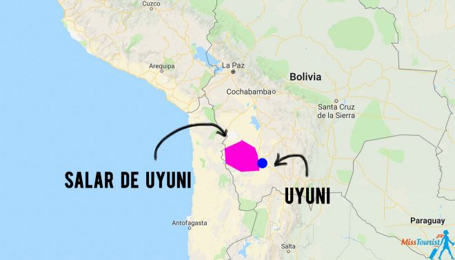 8 Things You Need To Know Before Your Bolivia Salt Flats Tour in Uyuni map
