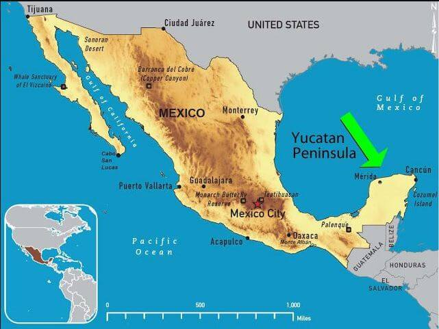 0 Yucatan peninsula on the map