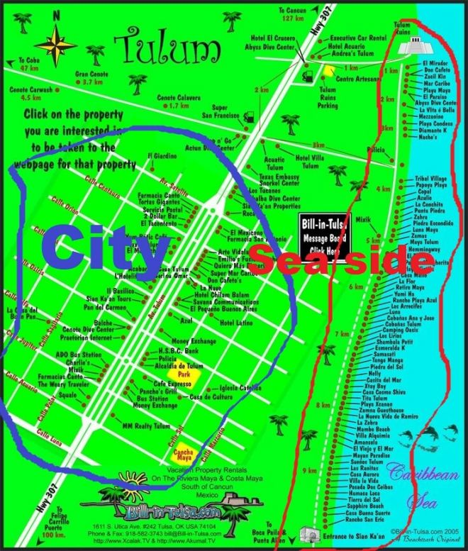 map of Tulum hotels