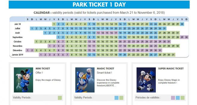 Cheap tickets to Disneyland, Paris - how to save at least 20€ per person calendar