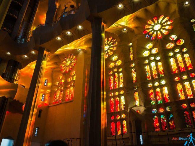 1 Sagrada Familia Barcelona sunset inside