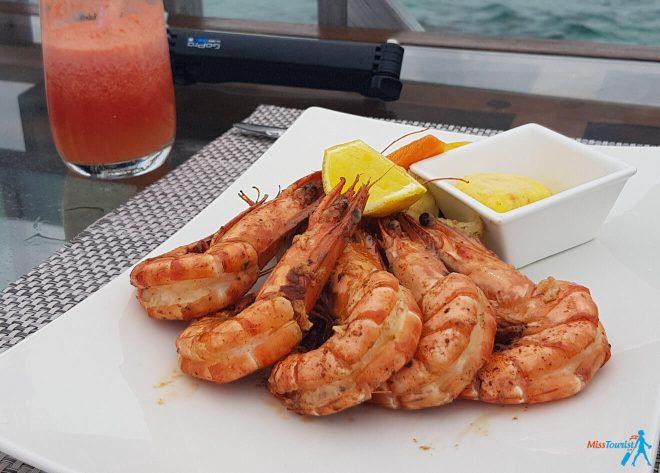 3 Amazing Resorts in the Maldives Bandos Food Shrimp