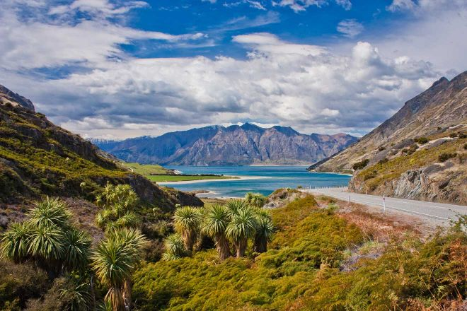 Beatiul Blue Hawea Lake Near Town Of Wanaka In New Zealand, High