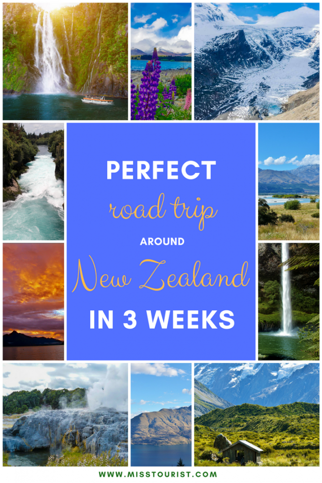 A Perfect Road Trip Around New Zealand in 3 Weeks pin it 1