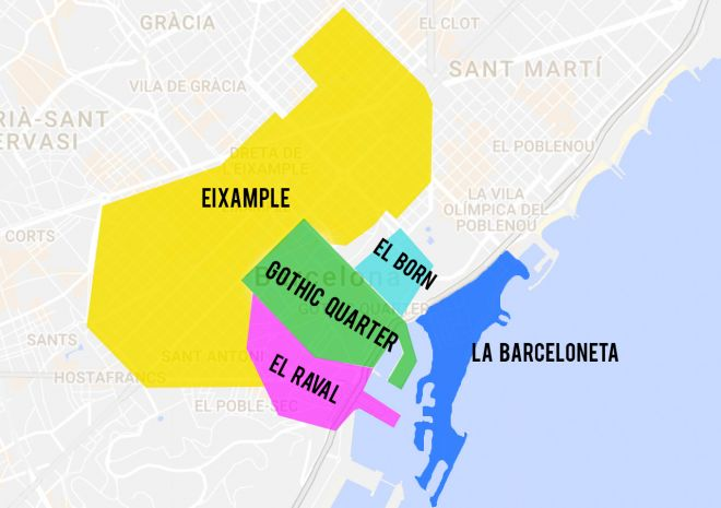 5 Neighborhoods To Stay In Barcelona (And Best Hotels Recommendations For Each Of Them!) districts map