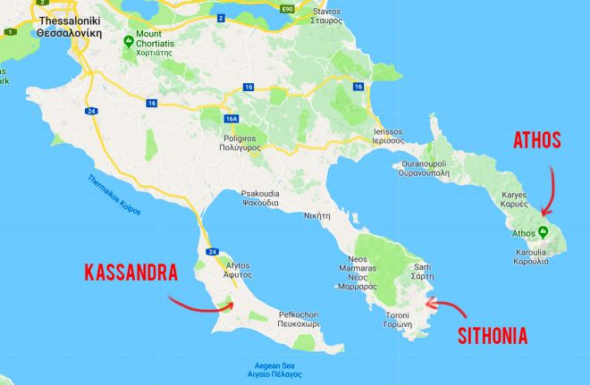 Things to do in Sithonia, a peninsula of Halkidiki in Greece map with text
