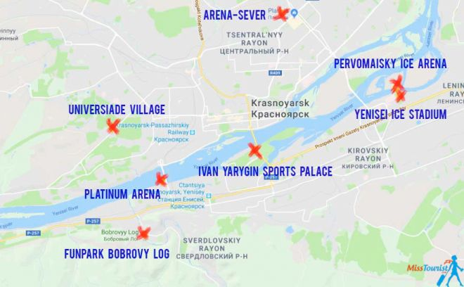 Best Hotels in Krasnoyarsk for 2019 Winter Universiade Krasnoyarsk venues map