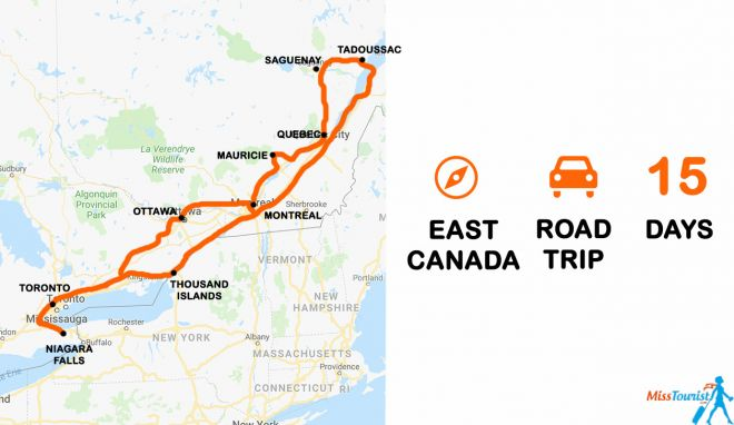 The best of Canada 2 weeks road trip itinerary map