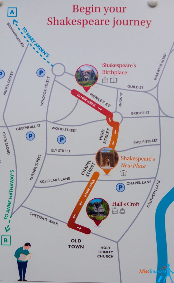 11 Best Things to do in Stratfod-Upon-Avon Shakespeare map