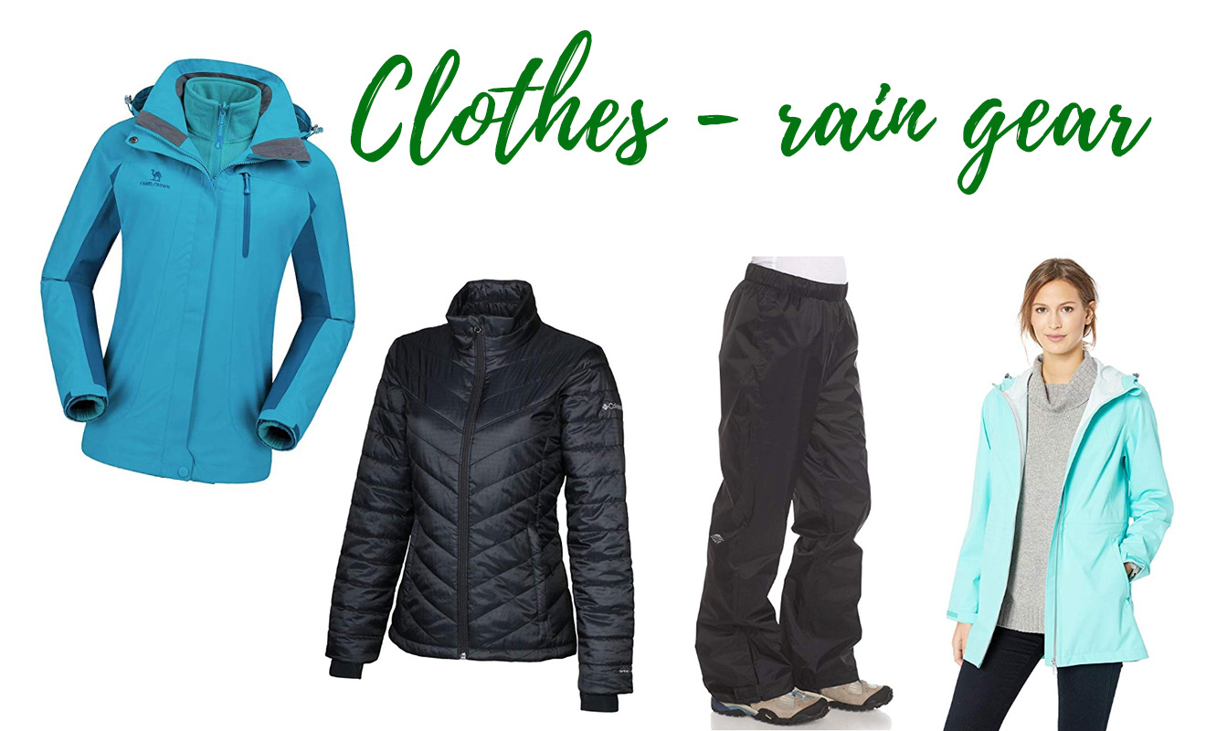 Kilimanjaro complete packing list Clothes jackets and rain gear