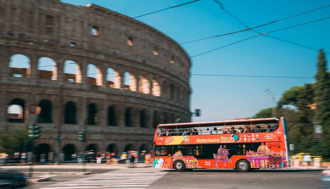 hop on hop off bus colosseum rome