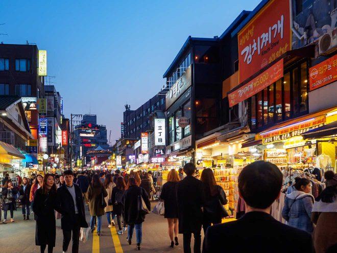 Hongdae neighborhood Seoul South Korea