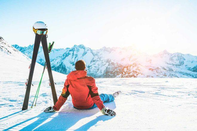 man on a mountain ski