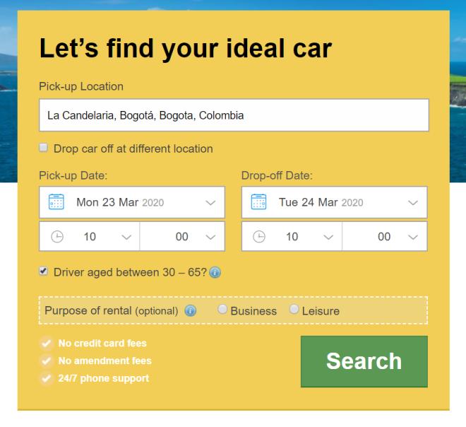 rent a car in bogota