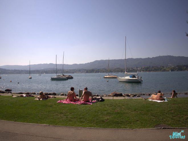 people lake zurich