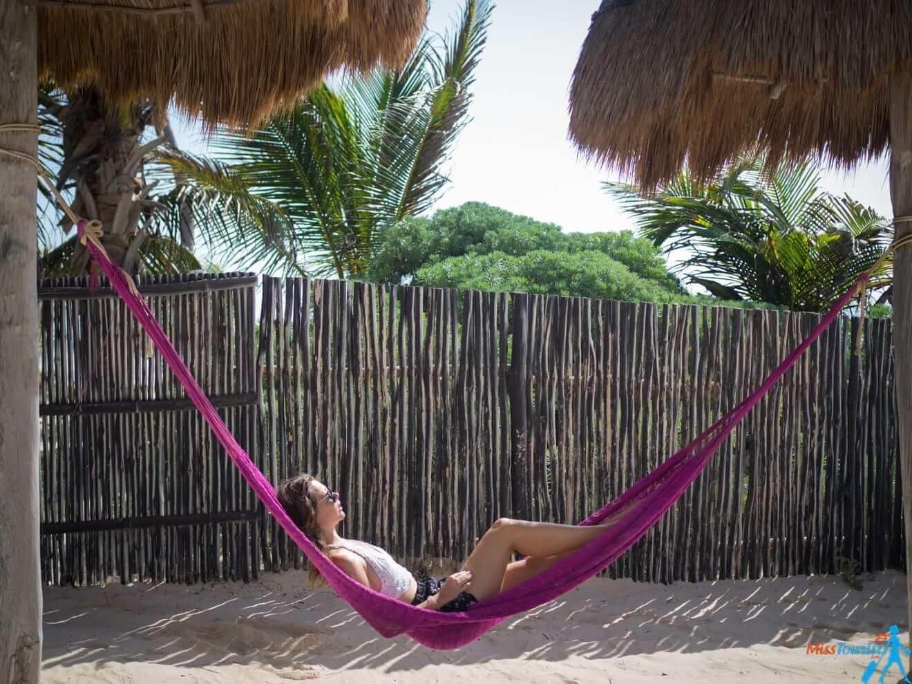 woman relaxing tulum