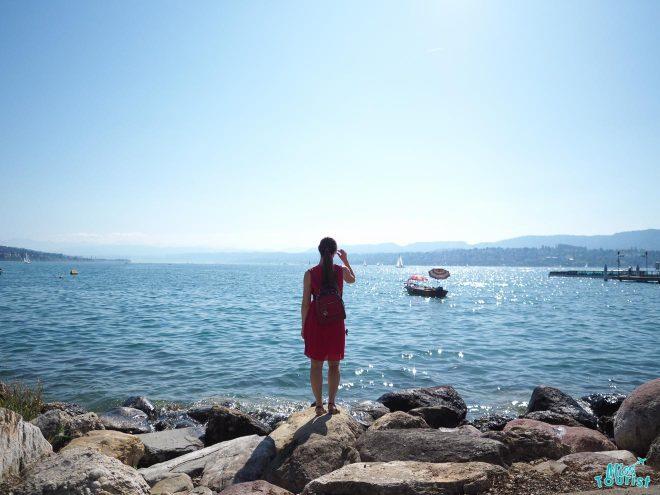 zurich seaside boats woman