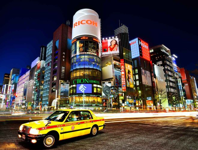 tokyo yellow taxi city