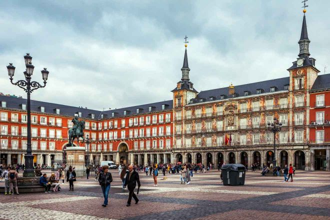 plaza mayor with statue of king philips