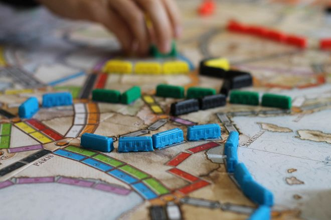 board game with trains