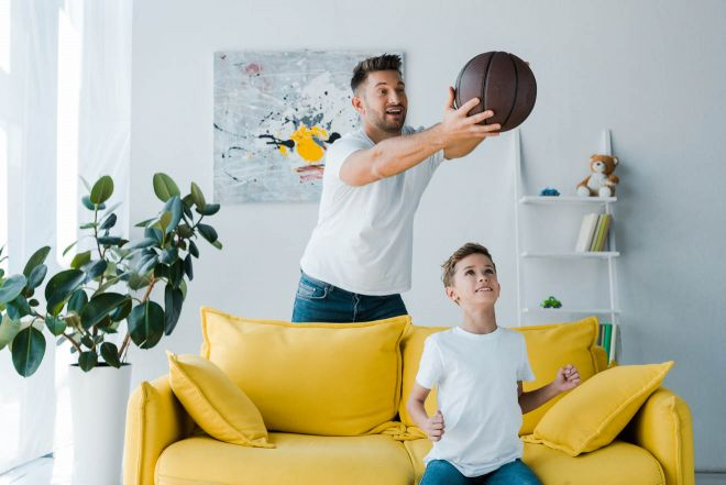 dad and son playing ball