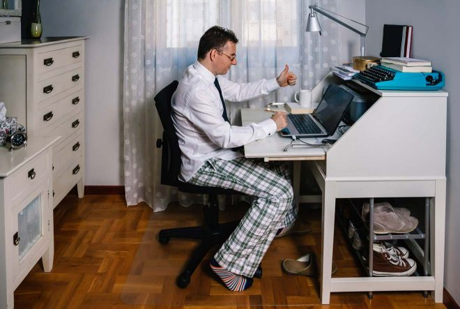 working from home in pyjamas