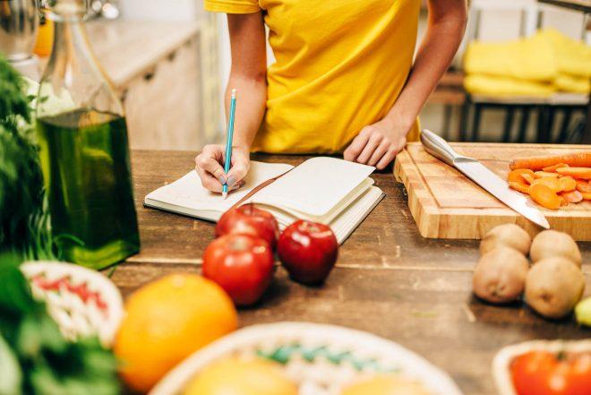 female preparing meal