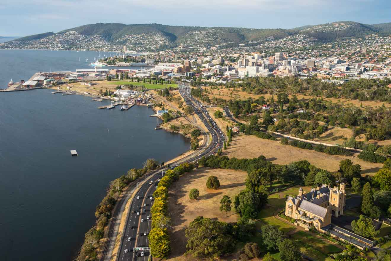 Aerial of Hobart showing Government House tasmania tour