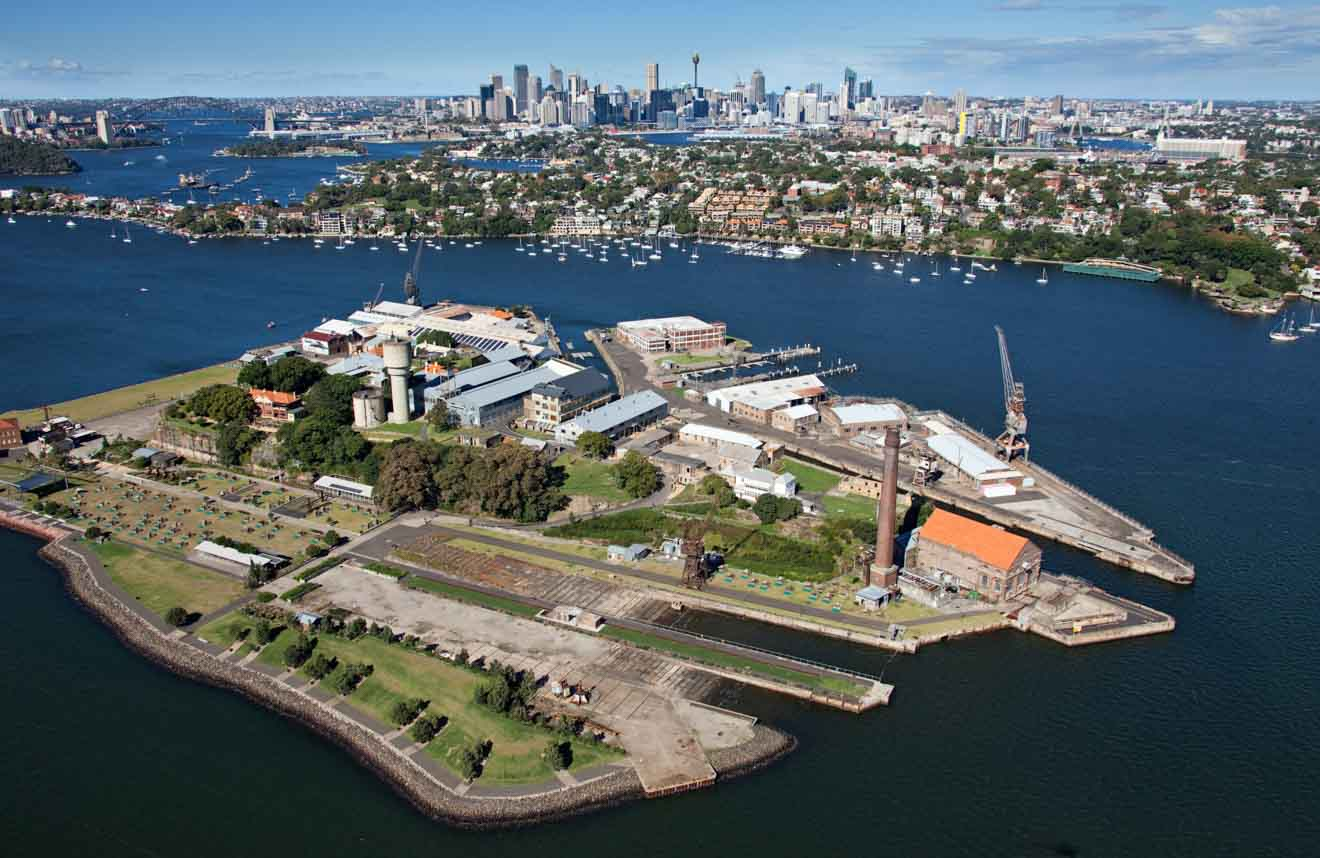 Aerial view of Cockatoo Island on Sydney Harbour Tour