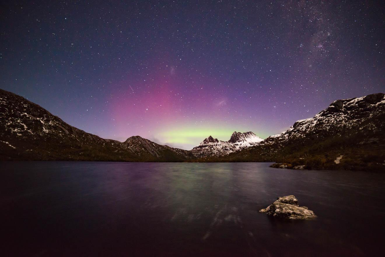 Aurora Australis over Cradle Mountain Overland track View