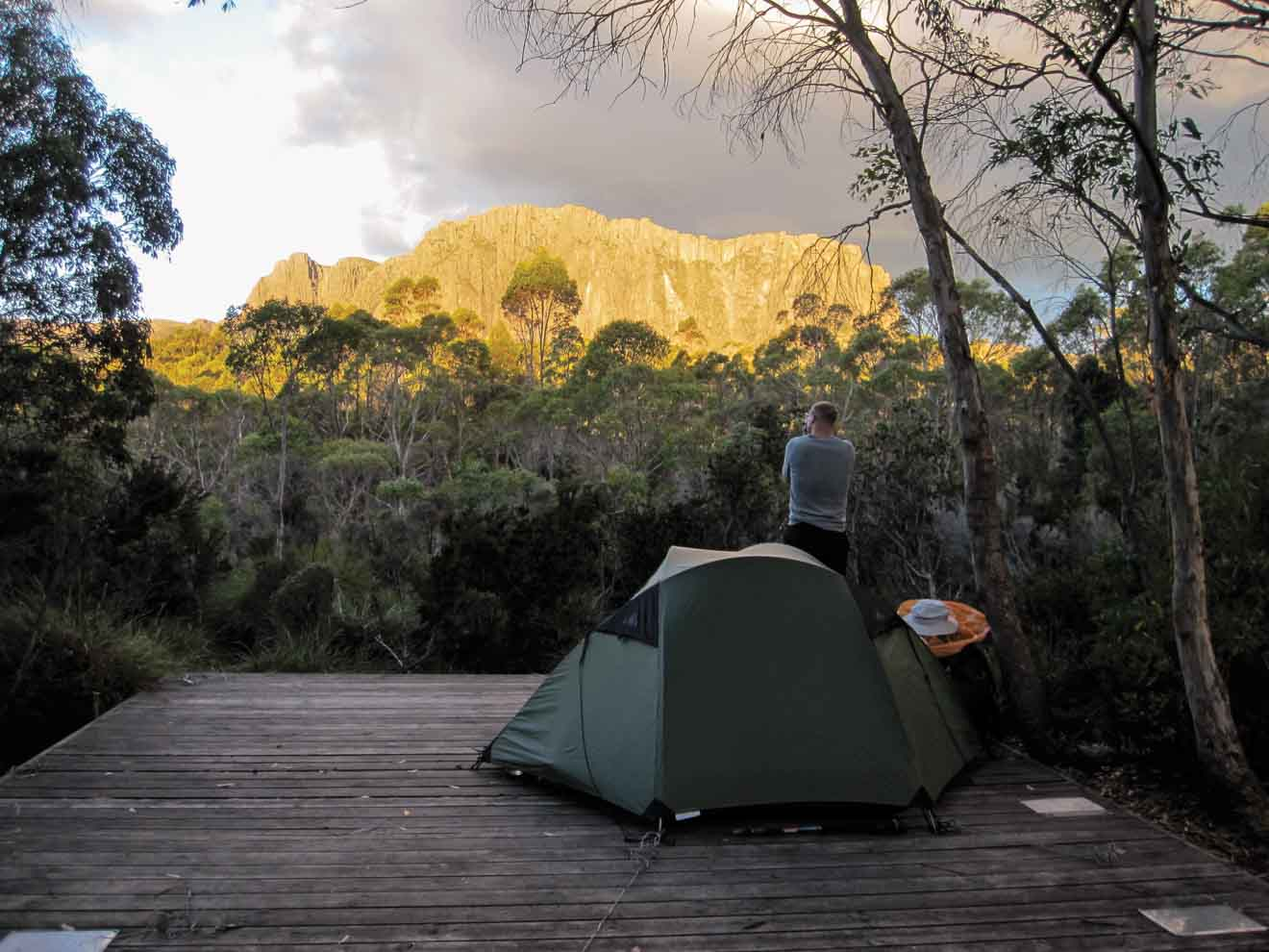 Cathedral Mountain at sunset, Overland Track Camping tour