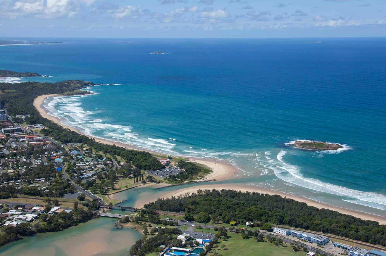 Coastal aerial Coffs Harbour Where to Stay
