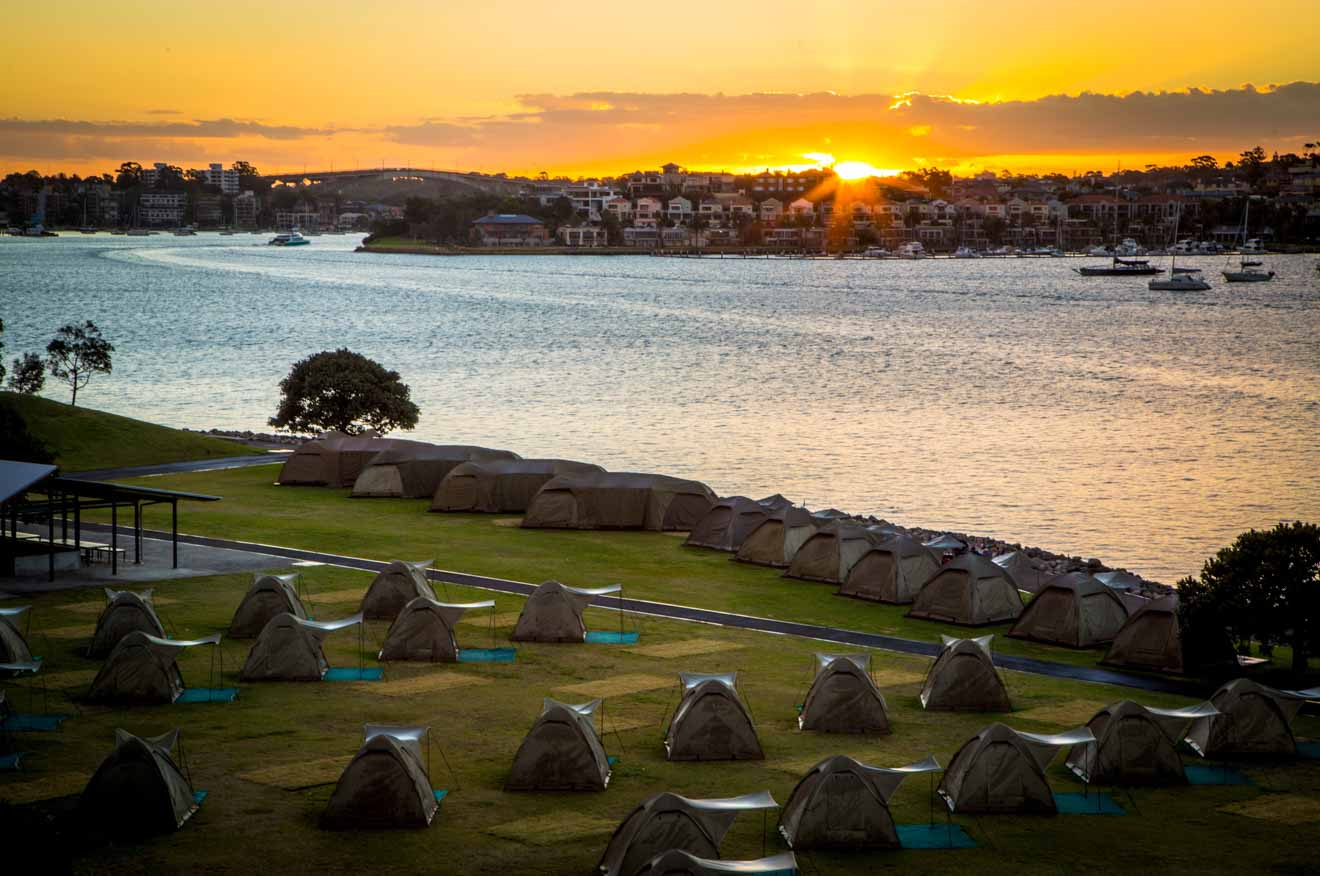 Cockatoo Island camping event at sunset