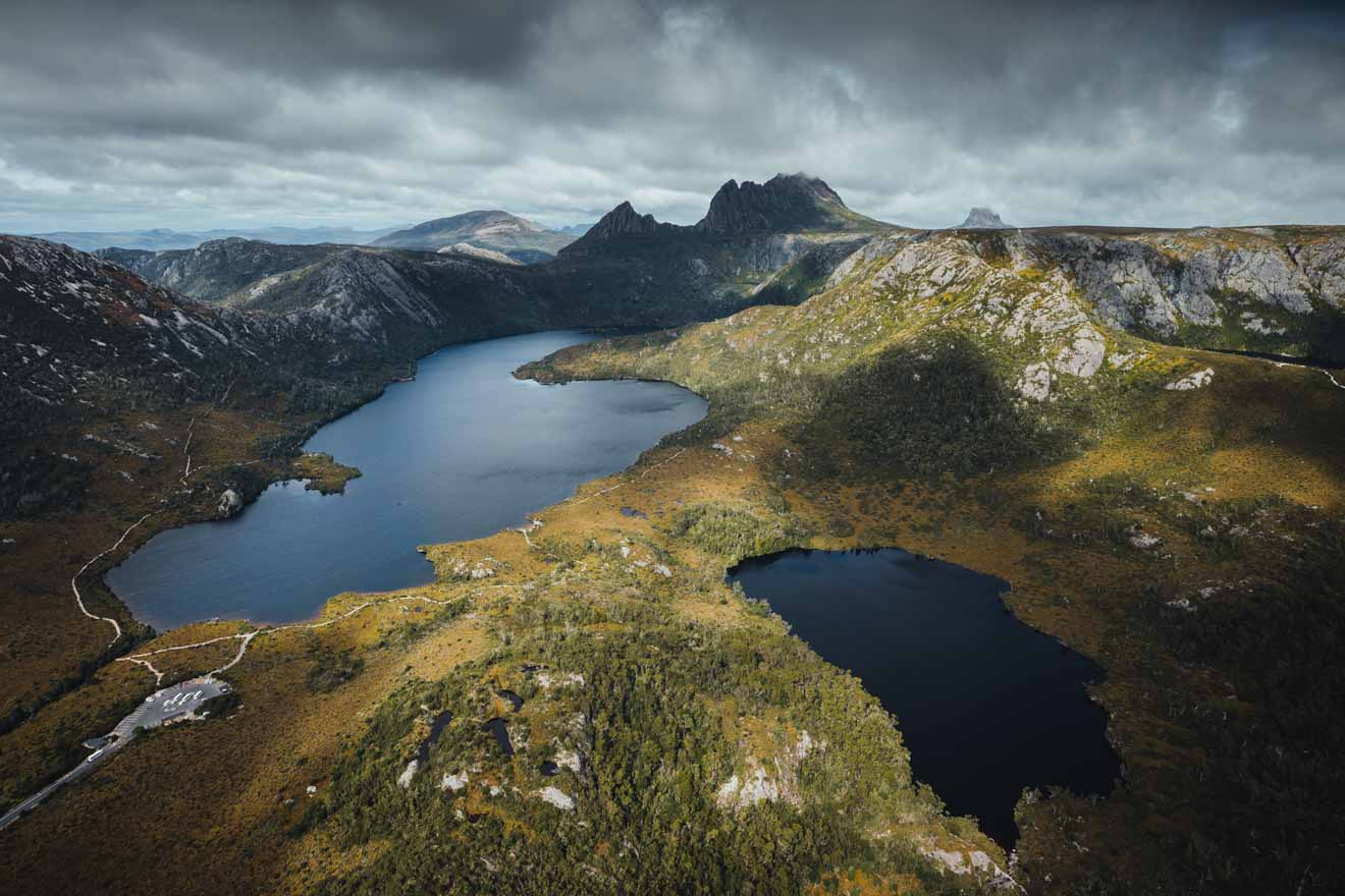 Dove and Crater Lake Cradle Mountain Overland track Aerial view