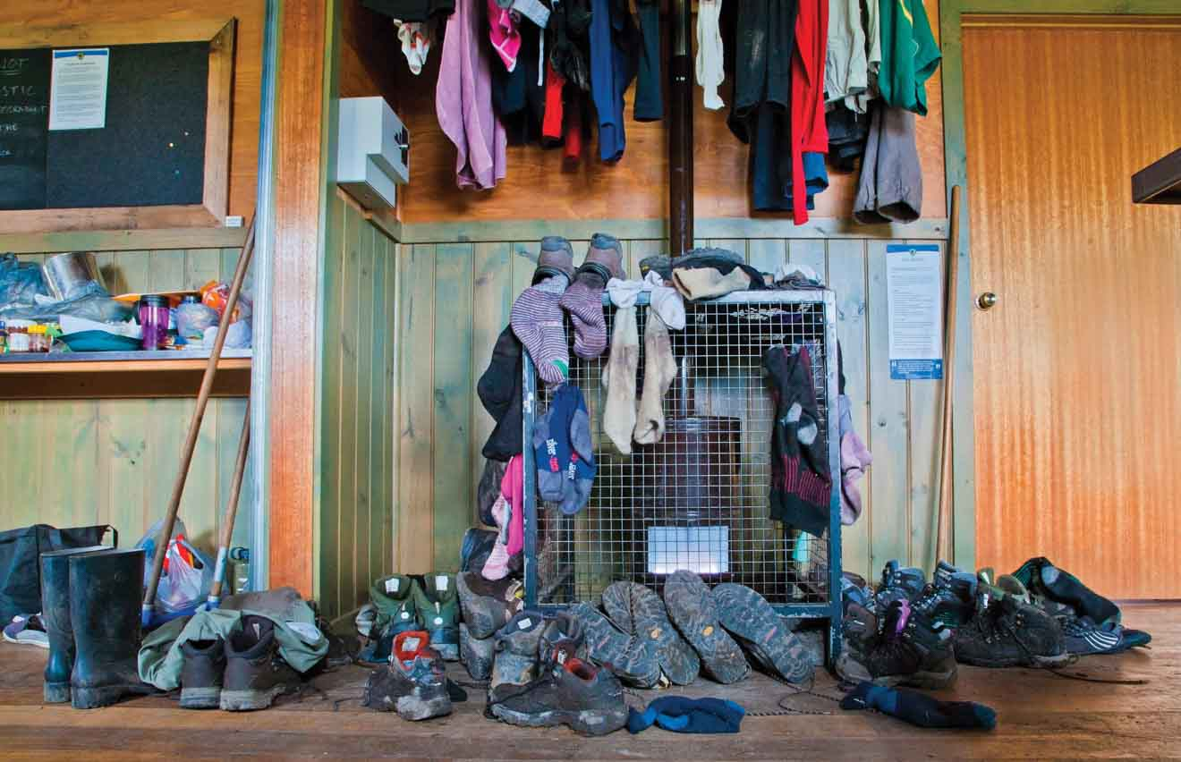 Garments in Pelion Hut on the Overland Track