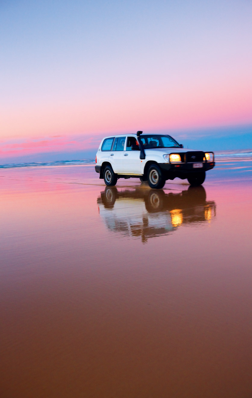 car and lovely sunset things to do in fraser island