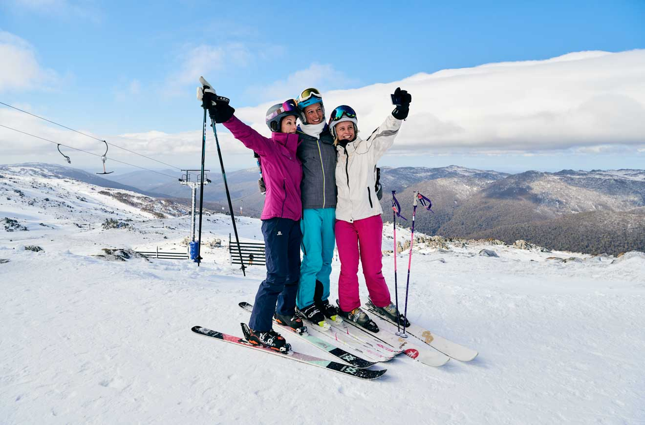 Skiers at Thredbo in the Snowy Mountains lift pass
