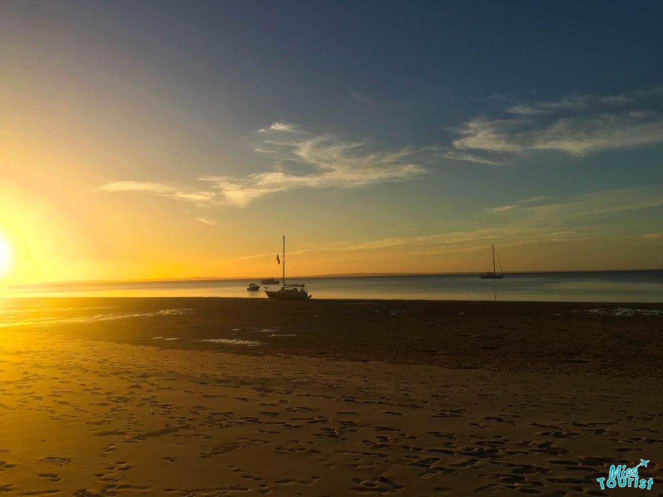 beautiful sunrise in fraser island