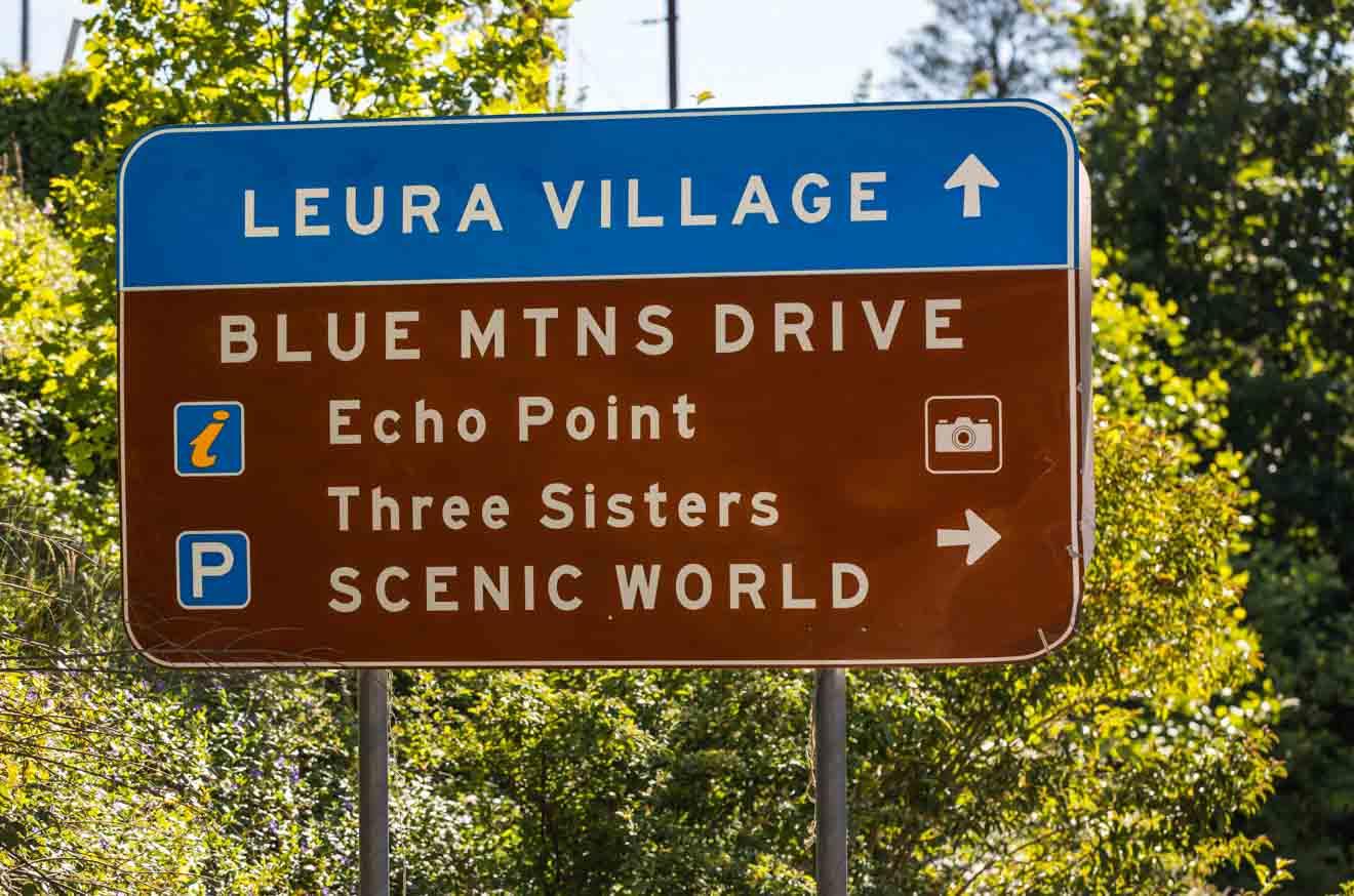 Tourist road signs near Leura in the Blue Mountains NSW Australia