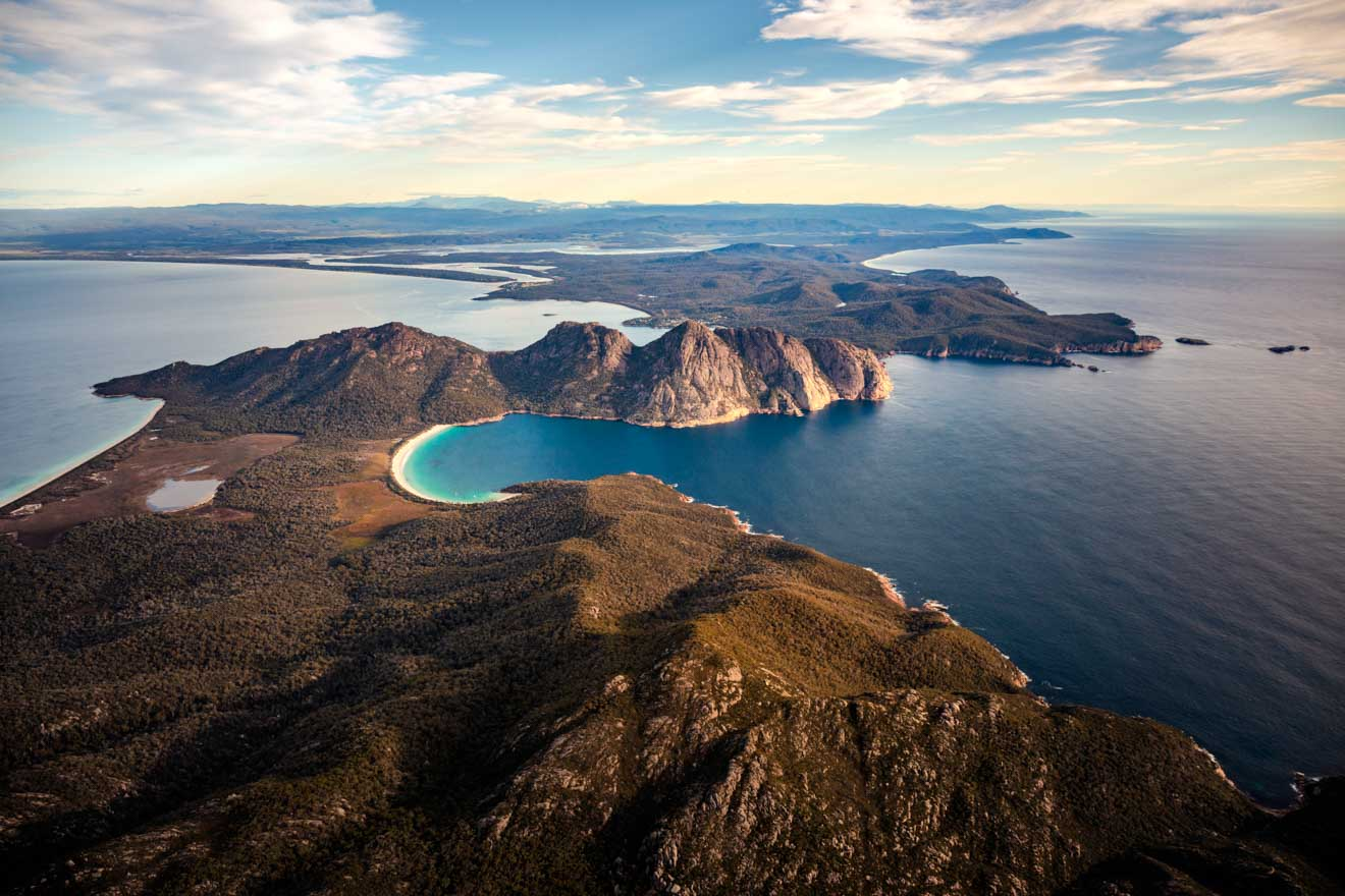 Wineglass Bay aerial tasmania trip